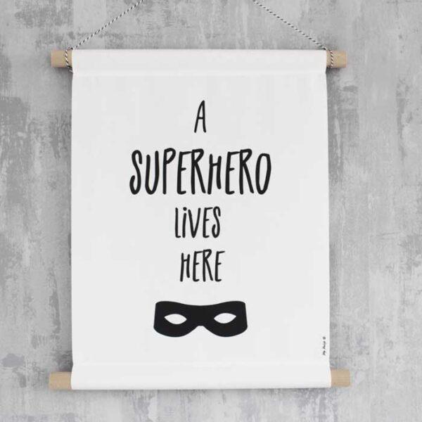 poster superhero zwartwit banner textielposter kinderkamer kleuter hiphuisje kopie